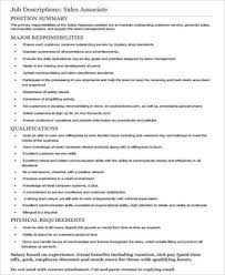 Resume Sample For Retail Sales Associate by Store Associate Job Description Sales Associate Resume Sample