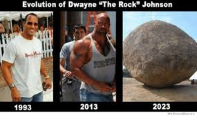 Rock Memes - evolution of dwayne the rock johnson 2023 2013 1993 we know memes
