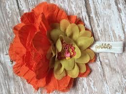 thanksgiving headband turkey day bow orange pink yellow