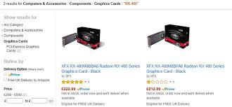 amazon gpu black friday xfx rx 480 radeon graphics cards listed on amazon uk graphics