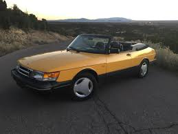 saab 900 convertible a yellow 1991 saab 900 se turbo cabrio with a 5sp manual might