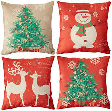 Christmas Decorative Pillow Cases by Set Of Christmas Pillows Amazon Com