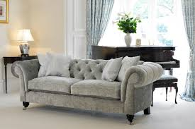 Chesterfields Sofas Furniture Grey Fabric Chesterfield Sofa With Four Pillows Table