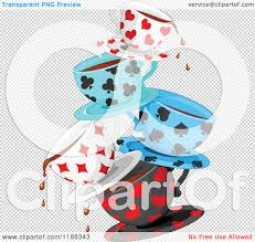 cartoon of stacked dripping tea cups patterned in playing card
