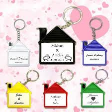 wedding favor keychains personalized wedding favors house shape measure keychains