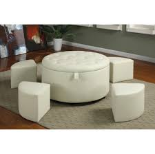 Large Square Storage Ottoman Coffee Table Wood Top White Leather Coffee Table Unique Interior