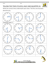 time worksheet o u0027clock quarter and half past
