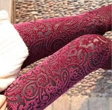 red patterned leggings new women s pants popular leggings laser embroidery pattern gold