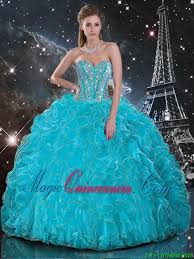 discount aqua blue sweetheart quinceanera gowns with beading and