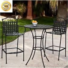 wrought iron bistro table and chair set tall bistro set bar height outdoor wrought iron deck porch pub table