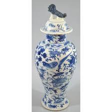 Blue And White Vases Antique Antique Chinese Blue U0026 White Hand Painted Vase Birds U0026 Foo Dog Lid