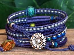 weave wrap bracelet images Lavender purple macrame herringbone weave multi media leather wrap jpg