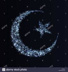 eid mubarak greeting card design abstract crescent moon and