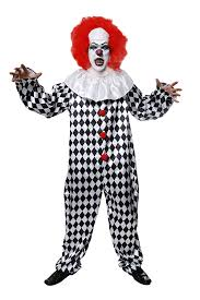 scary clown with wig halloween fancy dress costume medium