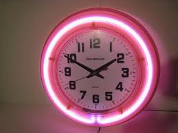 retro pink diner wall neon fancy clock 50s modern new fancy