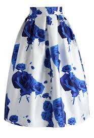 Blue Roses Blue Roses Printed Midi Skirt Retro Indie And Unique Fashion