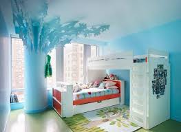 stylish kids bedroom with wood loft bed home interior design 27990