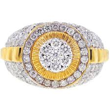 mens gold diamond rings diamond cluster ring 14k yellow gold 3 22 ct