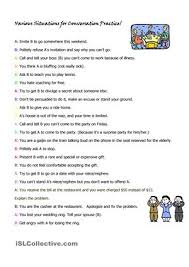 this activitity sheet lists many different roleplay situations to