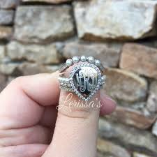 monogrammed silver ring monogram ring stacked monogrammed ring