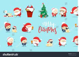 santa claus funny christmas characters flat stock vector 523347712