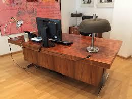 Chef Schreibtisch 60er 70er Design Chef Büro Schreibtisch Bus Palisander Furnier Mid
