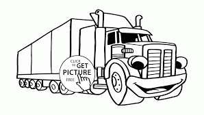 cartoon semi truck coloring page for preschoolers transportation