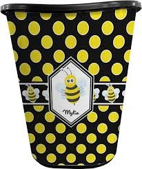 Yellow Wastebasket Bee U0026 Polka Dots Waste Basket Personalized Potty Training Concepts