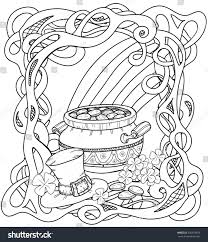 celtic coloring page pot gold rainbow stock vector 356218859