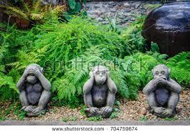 statue monkey gardenthree wise monkeys stock photo 704759674