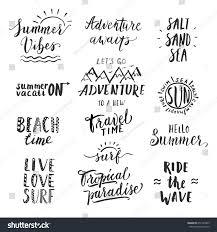 Travel lifestyle motivational phrases set hand stock vector