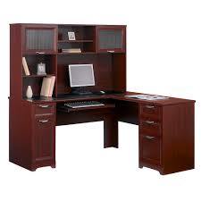 furniture wooden l shaped desk with hutch plus drawer and