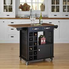 black small kitchen island cart with wine storage and wheels