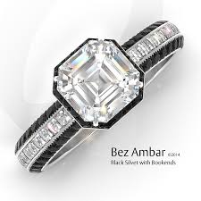black engagement ring set silvet blaze wedding ring set with black diamonds