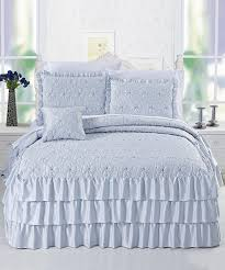 Light Blue Coverlet Amazon Com Serenta 4 Piece Matte Satin Ruffle Quilted Bedspread