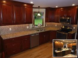 Granite Countertops With Cherry Cabinets Red Quartz Countertops Updating Oak Kitchen Cabinets Oak Kitchen