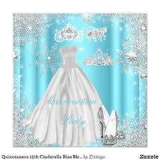 Quinceanera Invitation Cards Quinceanera 15th Cinderella Blue Birthday Party Card Blue