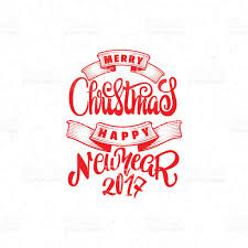 merry and happy new year 2017 handlettering text stock
