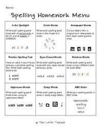 multiple spelling homework menus this little teacher
