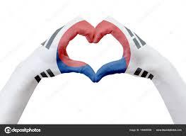 Flag Of South Korea Hands Flag Of South Korea Shape A Heart Concept Of Country