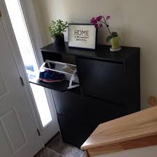 Shoe Home Decor by Small Split Level Entryway With Ikea Bissa Shoe Cabinets And