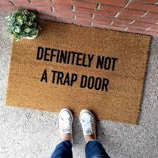 doormat funny emerging funny welcome mat the definitely not a trap door doormat