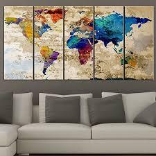amazon com world map canvas print contemporary 5 panel colorful