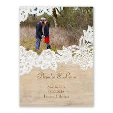 wood and lace save the date card lace cards and woods
