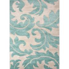 Ivory Area Rug 8x10 Jaipur Living Rug113484 Blue Coll Hand Tufted Abstract Pattern