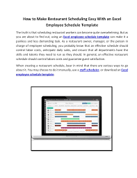 Restaurant Employee Schedule Template Excel by How To Restaurant Scheduling Easy With An Excel Employee Schedul