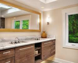 floating vanity with vessel sink superb under cabinet lighting fashion bamboo beige brown cabinet