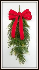 christmas wreath christmas swag cedar swag with red velvet bow