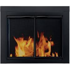 Glass Door Cabinet Walmart Pleasant Hearth Cabinet Style Fireplace Glass Door Astor Black