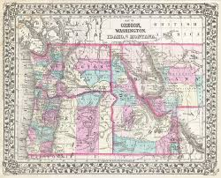 State Map Of Oregon by File 1877 Mitchell Map Of Oregon Washington Idaho And Montana